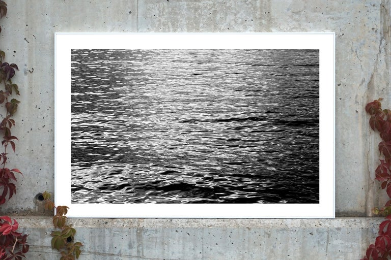 Black and White Abstract Ripples Under Moonlight, Nocturnal Nautical Giclée  - Photograph by Kind of Cyan