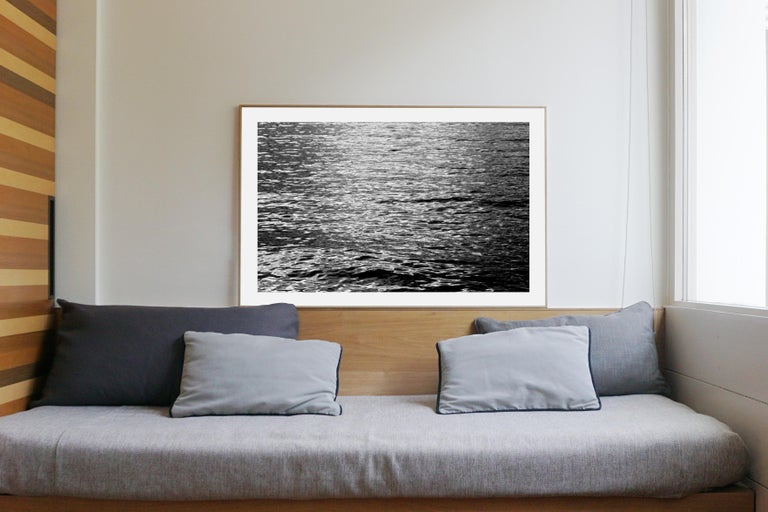 Black and White Abstract Ripples Under Moonlight, Nocturnal Nautical Giclée  - Minimalist Photograph by Kind of Cyan