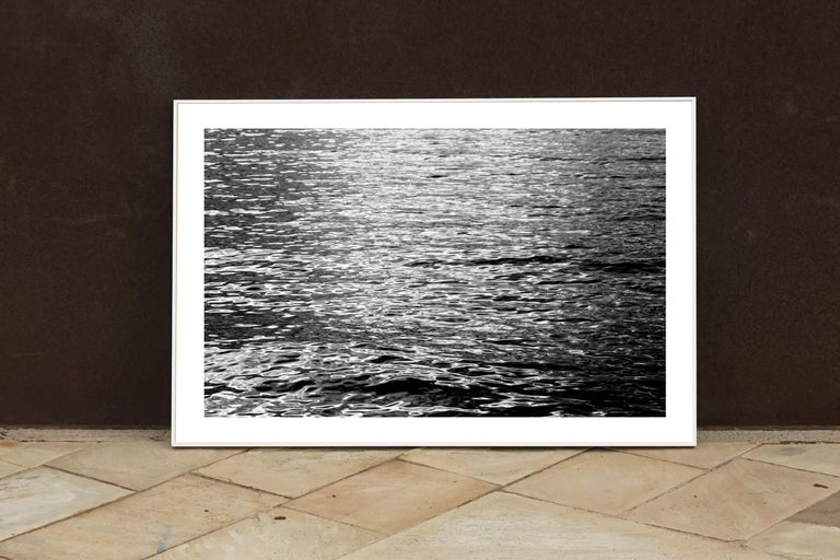 Black and White Abstract Ripples Under Moonlight, Nocturnal Nautical Giclée  For Sale 2