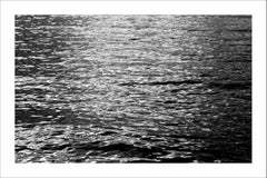Black and White Abstract Ripples Under Moonlight, Nocturnal Nautical Giclée