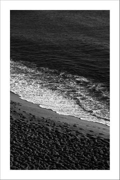 Black and White Giclée Print of Sandy Shore with Foam, Classy Black and White