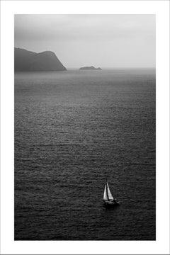Black and White Misty Sailboat Journey, Seascape Giclée Print, Nautical