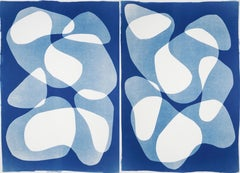 Blue Duo of Transparent Shapes, Cutout Layers Cyanotype Diptych on Paper, Modern