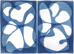 Diptych of Curved Geometry, Cutout Layers Cyanotype Duo, Midcentury Blue Shapes