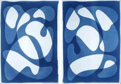 Diptych of Curved Geometry, Cutout Shapes and Shadows, Avant Garde Blue Tones