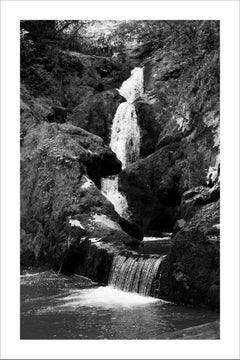Extra Large Black and White Giclée Print of Zen Forest Waterfall, Landscape