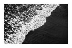 Extra Large Giclee Print of Deep Black Sandy Shore, Black and White Seascape