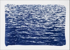 Mediterranean Seascape Cyanotype, Nautical Print of Sea Waves in Blue, Feng Shui