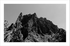 Rocky Desert Mountain, Black and White Landscape Photograph of Atlas, Morocco
