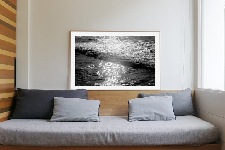 Seascape Black and White Giclée Print, Pacific Sunset Waves, Limited Edition - Photograph by Kind of Cyan