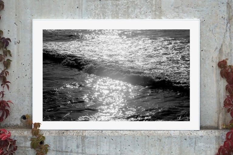 Seascape Black and White Giclée Print, Pacific Sunset Waves, Limited Edition - Realist Photograph by Kind of Cyan