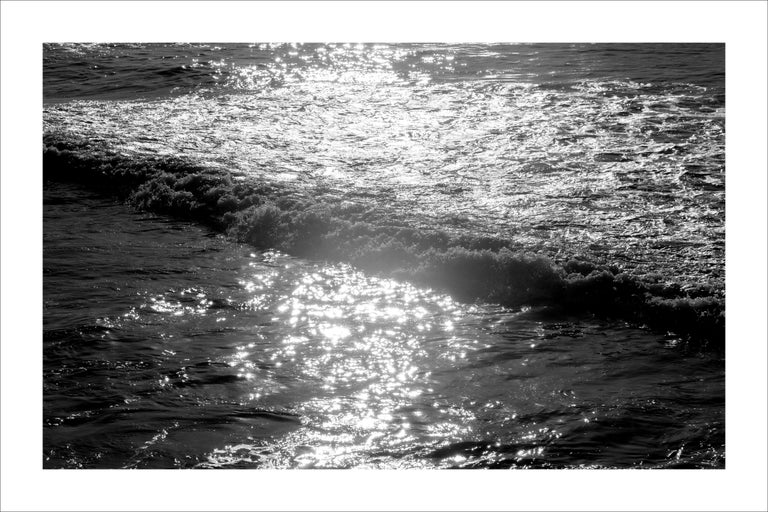 Kind of Cyan Black and White Photograph - Seascape Black and White Giclée Print, Pacific Sunset Waves, Limited Edition
