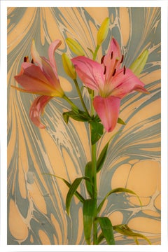 Seventies Psychedelic Flowers,Pink Lilys Bouquet, Modern Still Life, Giclée