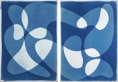 Sunken Stones, Unique Monotype Cyanotype, Abstract Blue Figurative Shapes, 2021