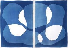 Sunken Stones, Unique Monotype Cyanotype, Abstract Blue Tones Figurative Shapes