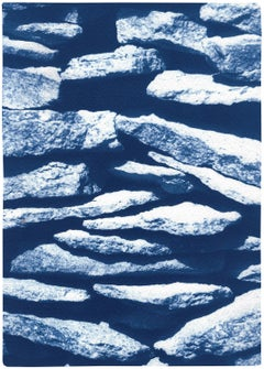 2021, Limited Edition Cyanotype of Flat Stone Stack, Garden Scene Textures, Blue