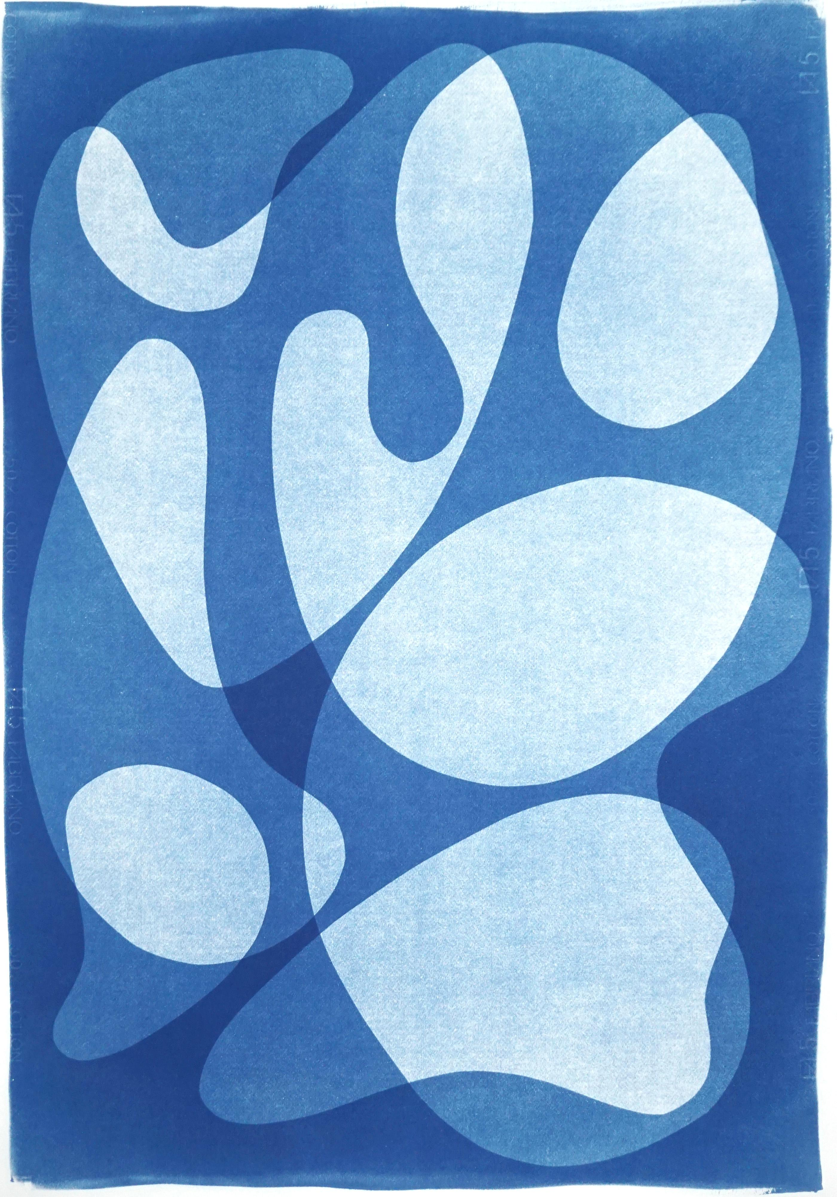 Abstract Blue Face, Contour Silhouettes Neutral Print, Avantgarde Style, Figures