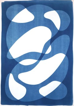 Abstracted Blue Face II, Mid-Century Shapes Figures on Paper, Handmade Monotype