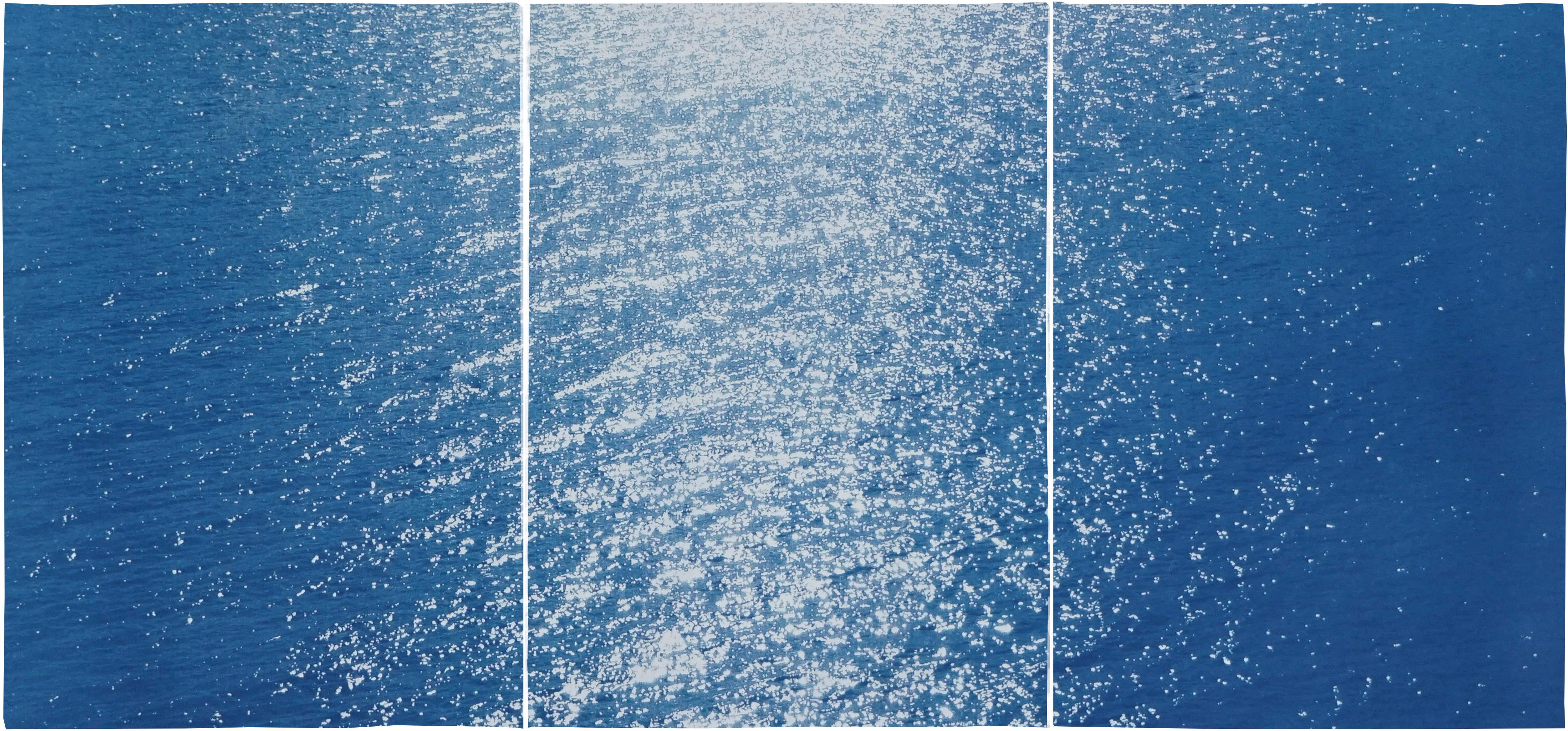 Amalfi Coast Seascape, Nautical Triptych Cyanotype on Paper, Sunrise Bay, Blue