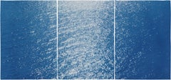 Amalfi Coast Seascape, Nautical Triptych Cyanotype on Paper, Sunrise Bay, Blue