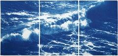 Australian Rolling Waves, Nautical Triptych of Vigorous Coast, Large Seascape