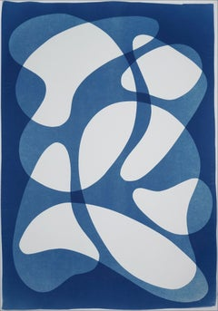 Avant Garde Blue Curves, Blue Tones Abstract Shapes on White, Classy Monotype