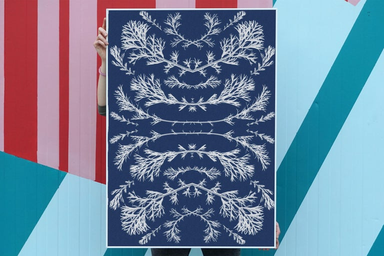 Botanical Composition, 100x70cm, Original Cyanotype on Watercolor Paper  - Baroque Print by Kind of Cyan