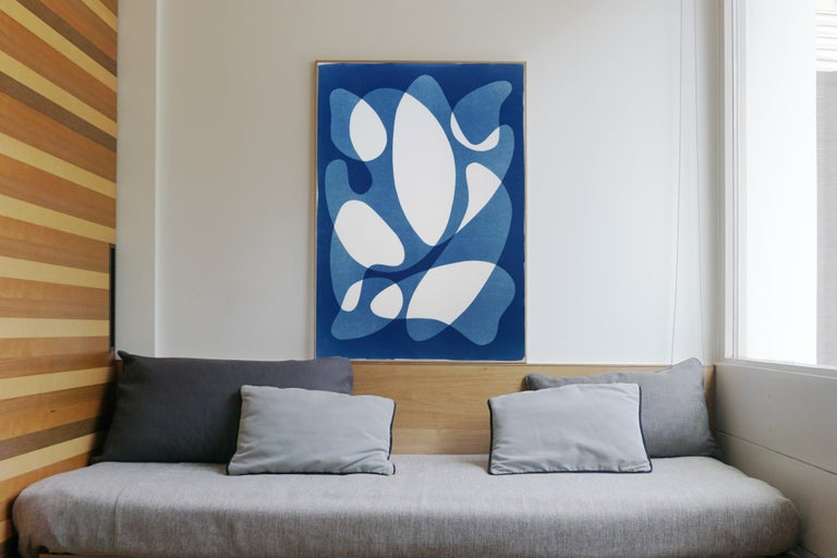This is an exclusive handprinted unique cyanotype that takes its inspiration from mid-century modern style shapes.  It's made by layering paper cutouts and different exposures using uv-light.   Details: + Title: Flowing Curved Shapes + Year: 2020 +