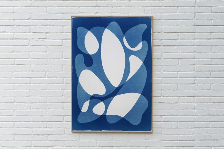 Flowing Curved Shapes, Modern Mid-Century Print on Paper, Blues, Neutral Tones For Sale 1