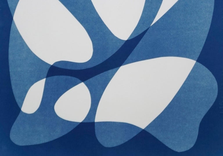 Flowing Curved Shapes, Modern Mid-Century Print on Paper, Blues, Neutral Tones For Sale 4