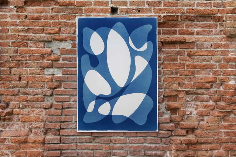Flowing Curved Shapes, Modern Mid-Century Print on Paper, Blues, Neutral Tones For Sale 5
