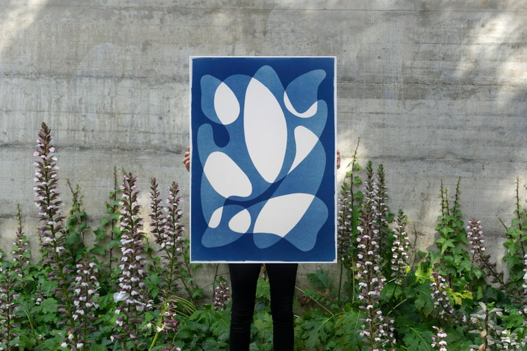 Flowing Curved Shapes, Modern Mid-Century Print on Paper, Blues, Neutral Tones For Sale 6