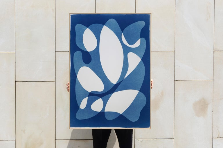 Flowing Curved Shapes, Modern Mid-Century Print on Paper, Blues, Neutral Tones For Sale 7