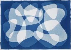Calder vs Guernica, Unique Cyanotype Photogram of Organic Cutout Shapes, Blue