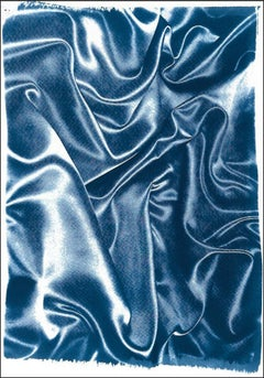 Classic Blue Silk Movement, Cyanotype on Watercolor Paper, Contemporary Romantic