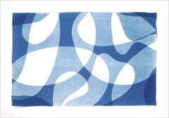 Contour Silhouettes in Blue, Modern Print of Organic Shapes in Blue Tones, White