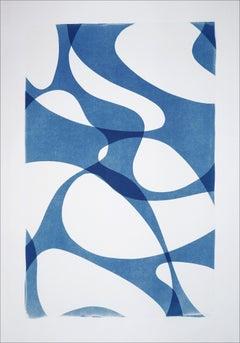 Contour Silhouettes in Blue Tones, Translucent Mid-Century Shapes, Neutral Print