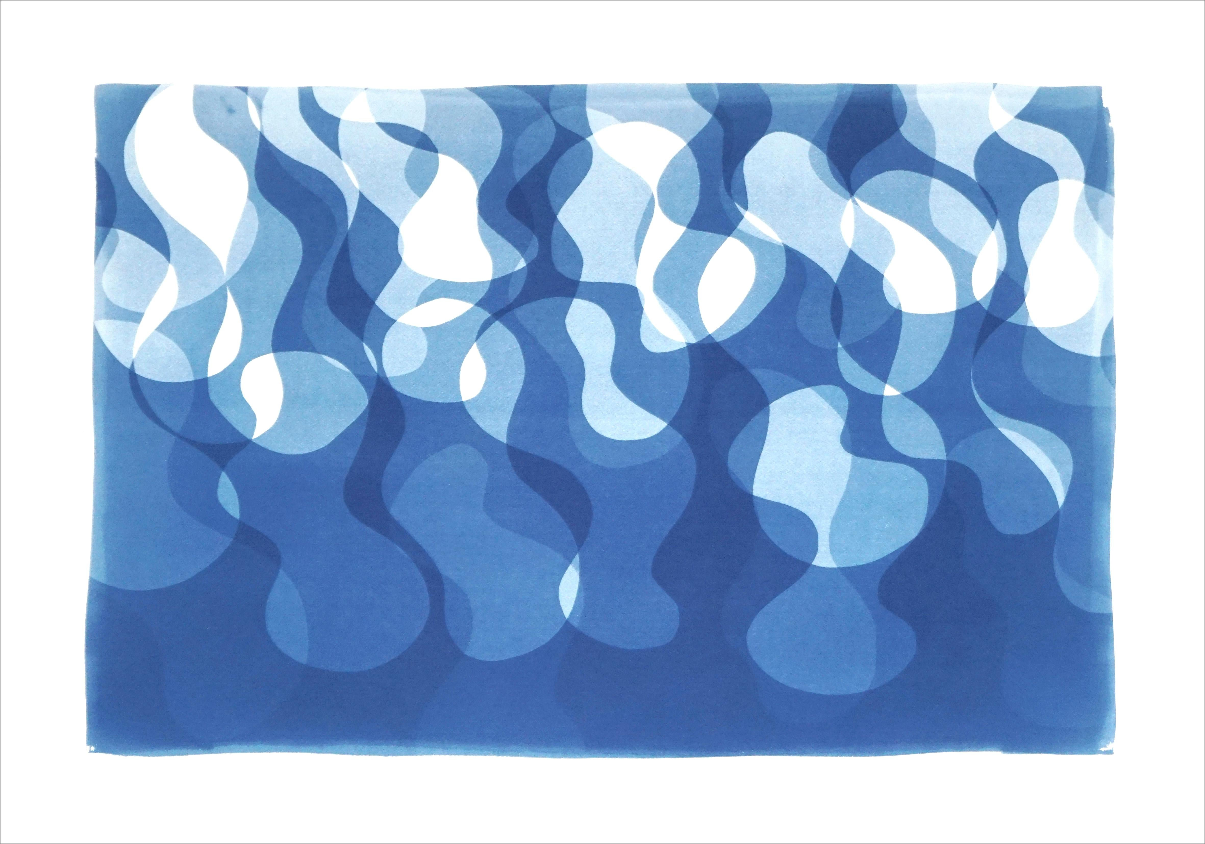 Curvy Water Flow, Abstract Shapes in Blue Tones, Pool Style Art, Cyanotype Print