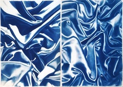 Diptych of Silks, Classic Blue Sensual Shapes, Cyanotype on Watercolor Paper