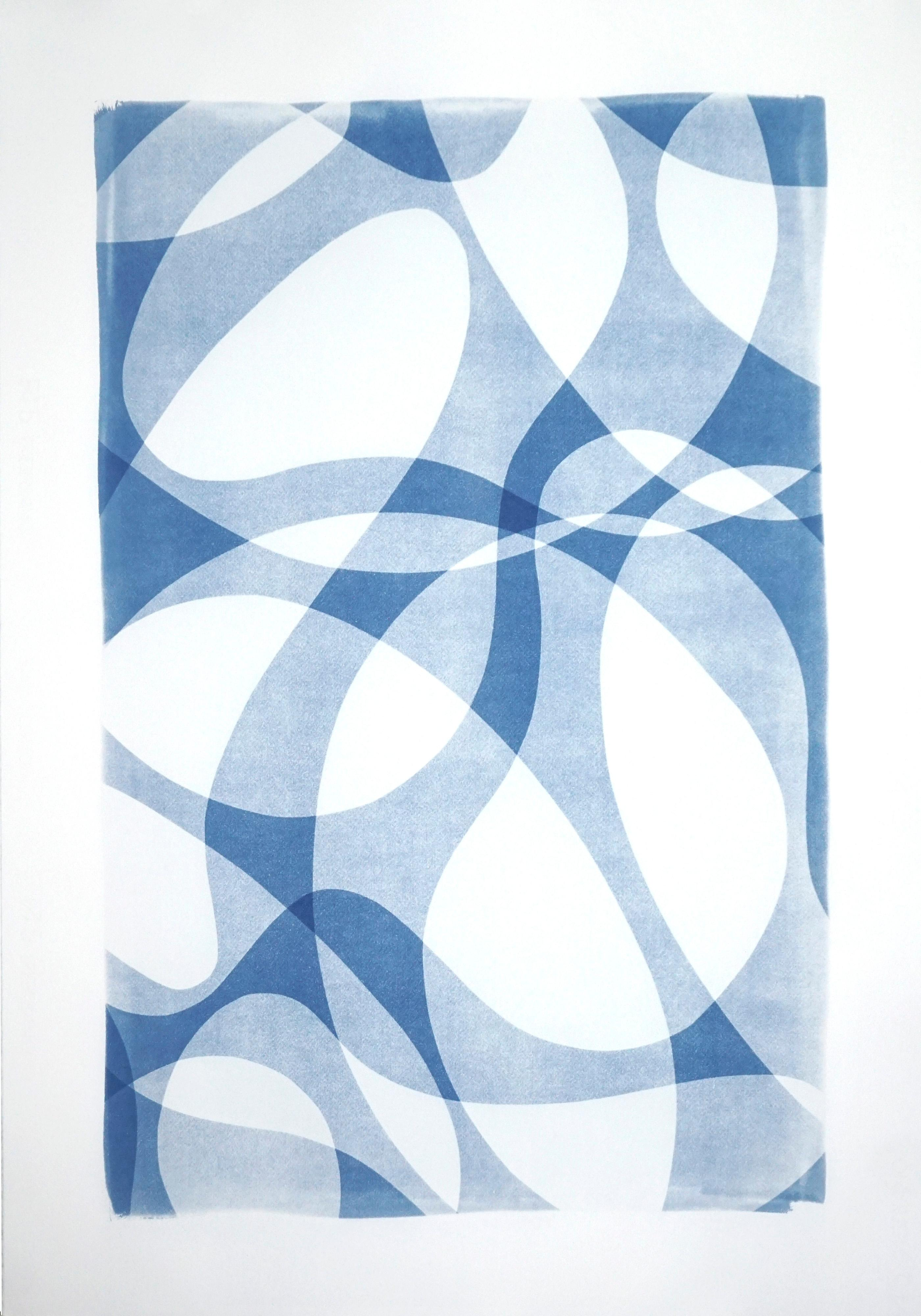 Extra Large Monotype of Contours and Shades in Blue Tones, Watercolor Paper