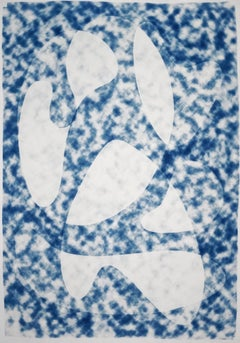 Extra Large Monotype of Translucent Cloudy Forms Mid-Century Modern Style, Blue