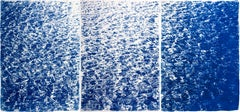French Riviera Cove, Abstract Seascape Triptych on Paper, Cyanotype Print, 2021