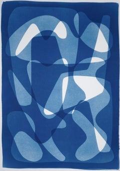 Geometric Mid-Century Vibes, Blue Tones Cyanotype Print, Cutout Shapes on Paper