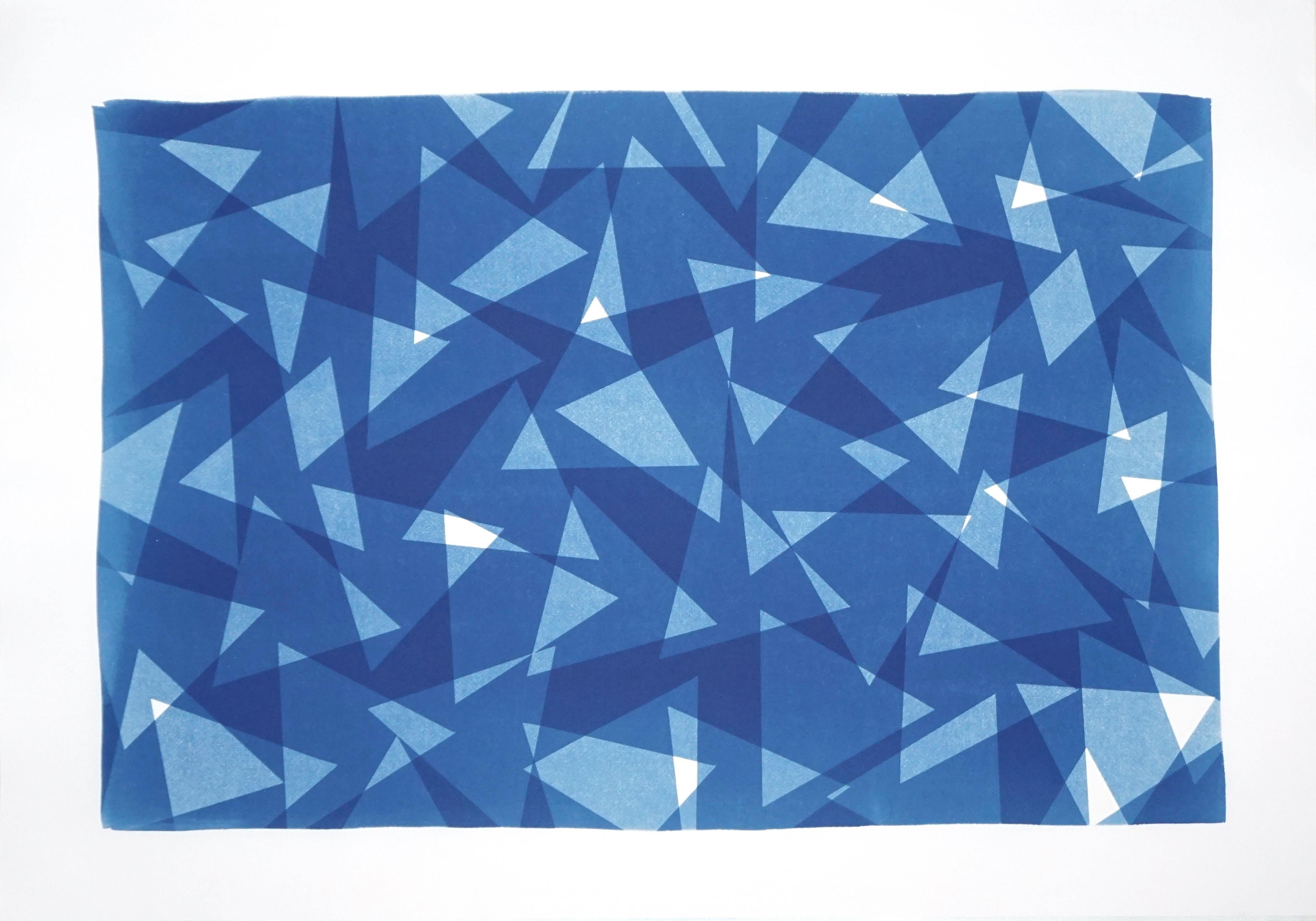 Geometric Triangles Pattern Print, Cutout Layer Paper Cyanotype in Blue Tones