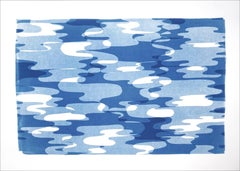Geometric Water Reflections in Movement, Blue and White Geometric Transparencies
