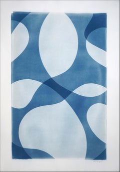 Handmade Unique Cyanotype of Minimal Pool Patterns Cutouts in Blue Tones, Paper