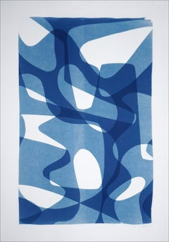 Jazzy Fifties Shapes, Blue Tones Vibrant Forms, Monotype, Cyanotype on Paper
