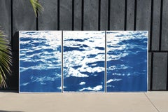 Large Seascape Triptych of Summer Waters in Cannes, Nautical Cyanotype, Blue