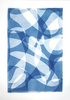Line Contours in Shade Gradients, Monotype Blue Tones Prints, Avant Garde Style