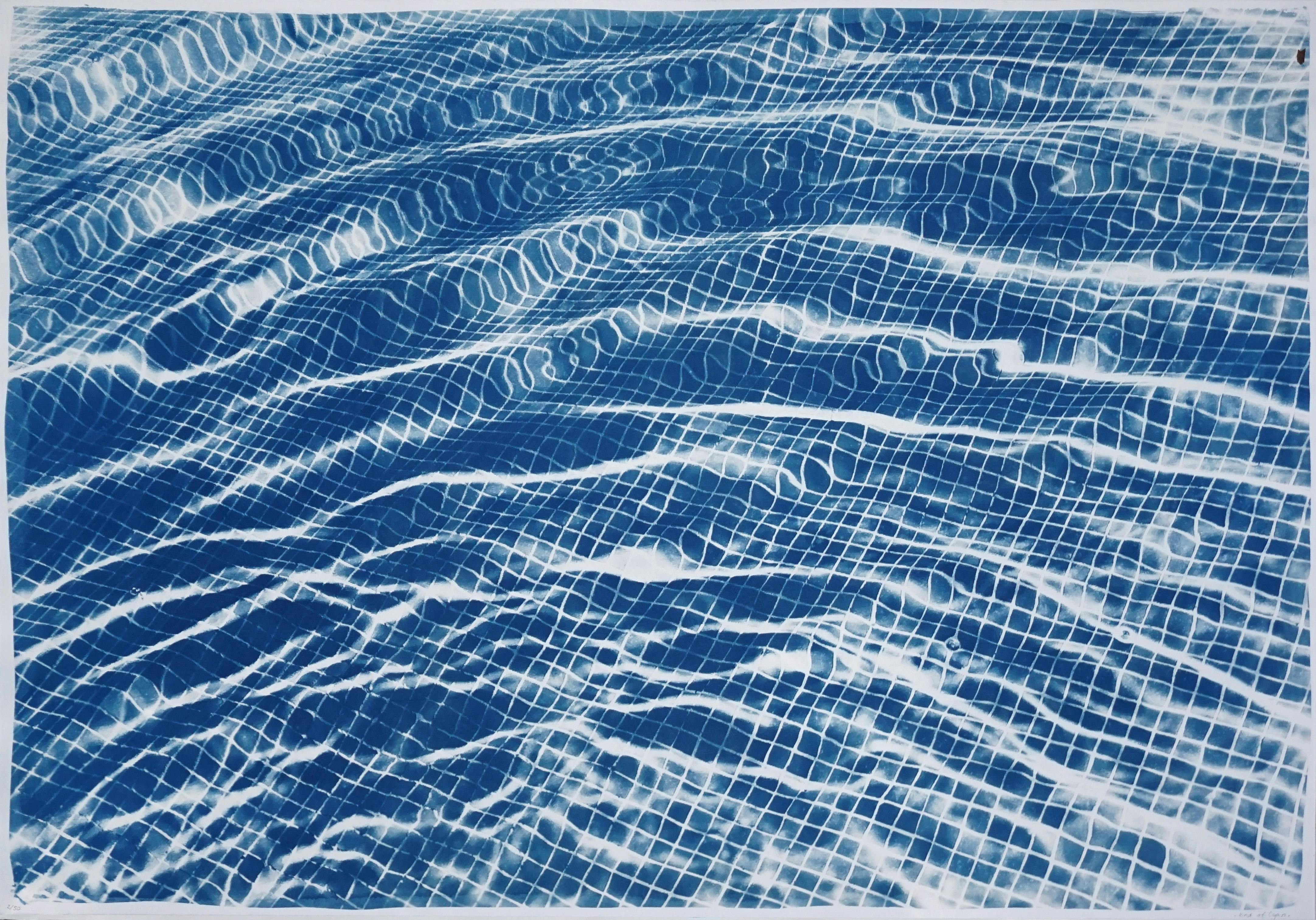 Miami Art Deco Pool Cyanotype on Watercolor Paper, 100x70cm, Limited Edition